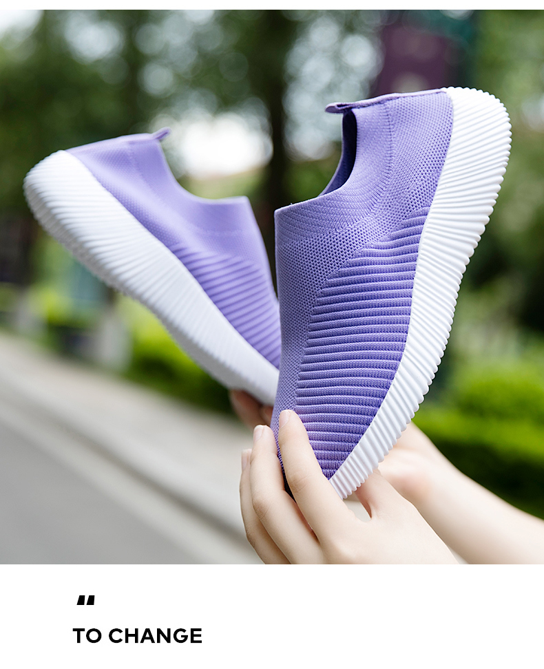 Slip On Flying Knit Women Fashion Sneakers Breathable Flat Heel Casual Shoes Round Toe Low Top Women Shoes XU034 (30)