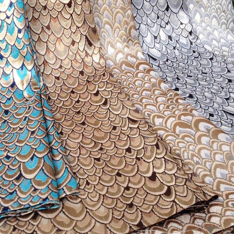 Африканский Блестящий Павлин жаккардовая парча тонкая ткань для платья, Diy Tissus материалы Telas, швейные металлические Tecido
