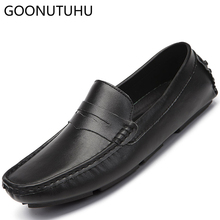 Men's shoes casual genuine leather cow loafers male 2019 new slip on shoe man black blue white driving shoes for men big size 47 leather men loafers shoes comfortable casual shoes men spring autumn black soft sole driving flat shoes blue big size 38 47