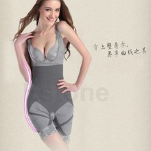Women Slimming Bamboo Control Underbust Shapewear Shaper Corset Body Bodysuit Gray/Nude/Black 2017(China)