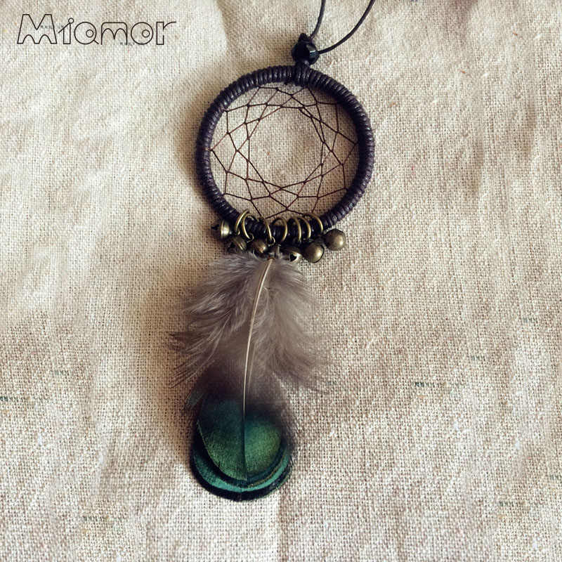 MIAMOR Cute MINI Dreamcatcher Necklace Handmade Dream Catcher Net With Feathers & Small Bell Decoration Ornament AMOR001567