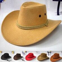 Valink ковбойская шляпа в западном стиле, мужская шапка для верховой езды, модный аксессуар с широкими полями, крученый гофрированный подарок для мужчин, casquette homme