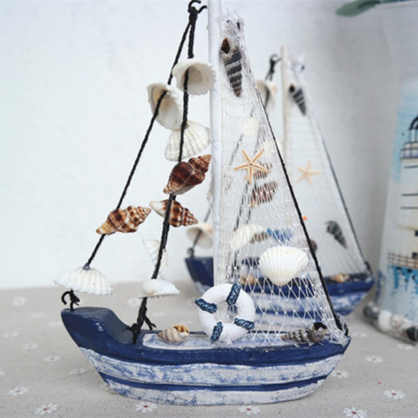 Online Shop Wood Boat Craft Mediterranean Style Wooden Ship Model DIY Wedding Gift Nautical Decor Small Sailboat Decoration