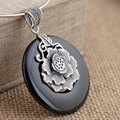 GZ 925 Silver Flower Pendant 100% Pure S925 Solid Thai Silver Black Agate Lotus Pendants for Women Men Jewelry Making