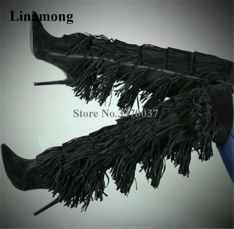 Women Charming Pointed Toe Suede Leather Black Brown Long Tassels Knee High Boots Zipper-up Fringes High Heel Long Boots high quality women fashion round toe knee high tassels thick heel boots newest sexy long fringes high heel boots