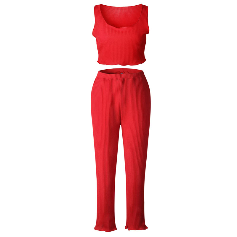 6c3da44776 Fashion Women Red two piece set Sexy knit square Tank tops + flare Pants  sexy tracksuits-in Women's Sets from Women's Clothing on Aliexpress.com |  Alibaba ...