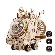 Robud творческий DIY 3D космический корабль деревянная головоломка сборки игрушка музыкальная шкатулка подарок для детей подростков взрослых AM681