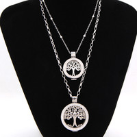 Vinnie Design Jewelry 2017 New Women DIY Necklace Set 2pcs Silver Tree Of Life Coin Pendant