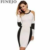 S XXXL Finejo Sexy Bandage Mini Dress New Spring Black White Dress Long Sleeve Patchwork Pencil