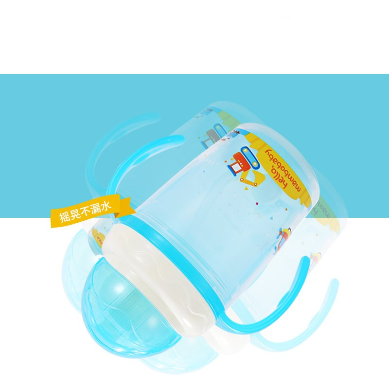 230ml Baby Kids Water Cup Silicone Sippy Child Baby Training Cups Cute Cartoon Baby Drinking Water Straw Handle Feeding Bottle