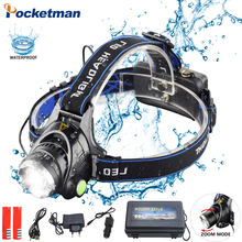 цена на cree headlight led headlamp xm l t6  waterproof zoom head lamp 18650 rechargeable battery flashlight head torch Lights