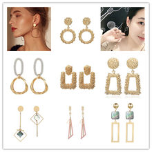New Fashion Geometric Earrings For Women Gold Silver Boho Earrings Korean Style Accessories Circle Brincos Minimalist Jewelry(China)