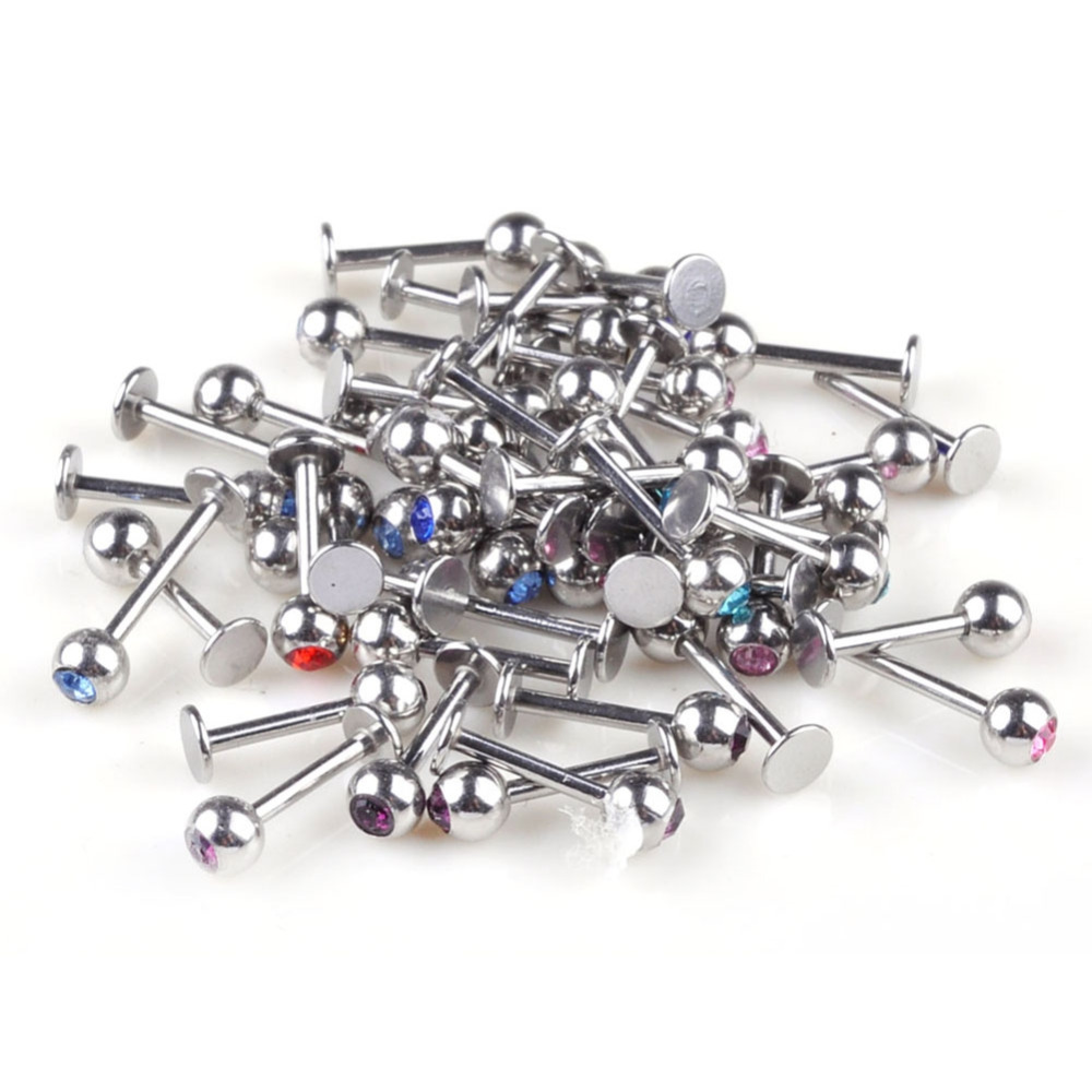 10pcs/16G Ball Labret Lip Chin Rings Nose Ear Bars Stud Stainless Steel Piercing