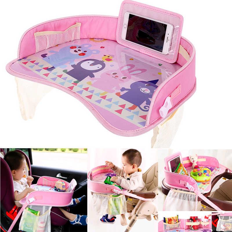 Портативный мультфильм детей путешествия безопасности автомобиля столик для сиденья Водонепроницаемый держатель для Коляски Организатор Детская игрушечная еда стол для напитков