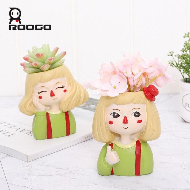 Roogo 유령 말 소녀 꽃 냄비 수지 Cachepot 귀여운 꽃 냄비 즙이 많은 장식 분재 냄비 홈 정원 장식