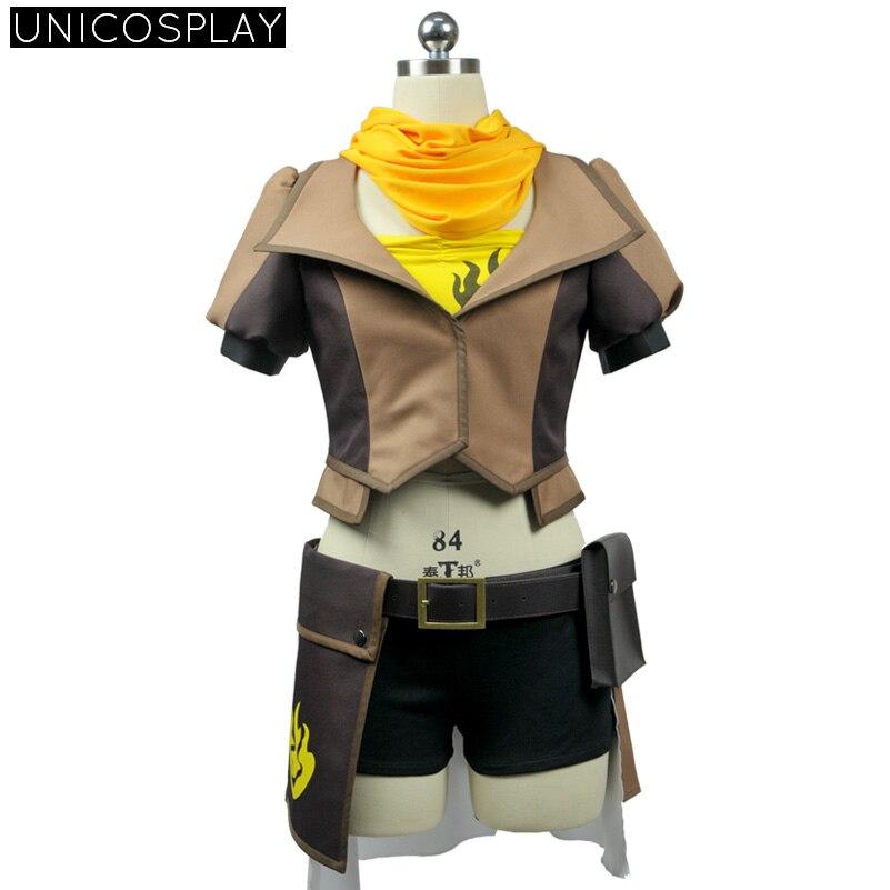 RWBY Yang Xiao Lange Jurk Cosplay Kostuum Geel Sjaal + Tube Top + Jas + Shorts + Riem + Taille tas + Handschoenen + Sokken + Puttee Meisje Feestjurk - 2