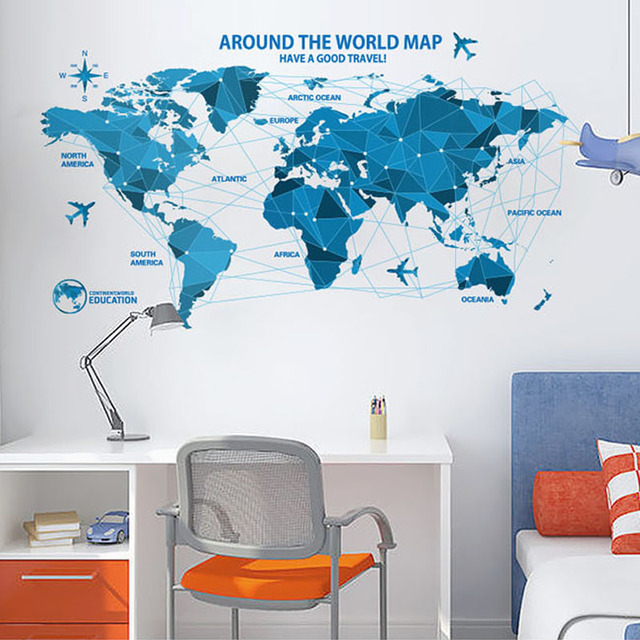 Dctop Around The World Map Wall Stickers Home Decor Office Wall Decorative Stickers Vinyl Wall Decals