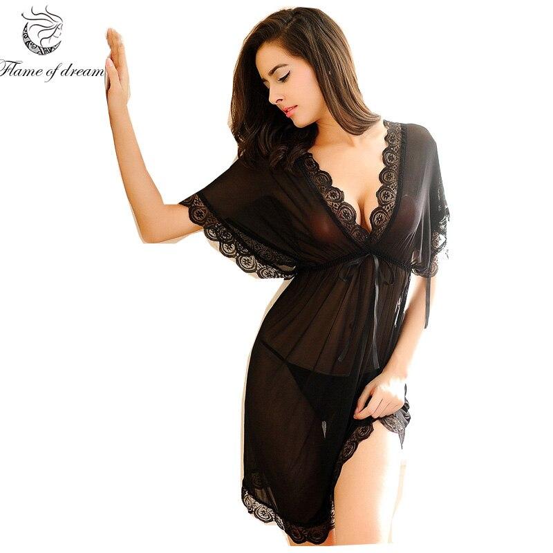 Shirt sleep nightgowns Sleepwear nightdress Women's sexy sleepwear sexy women's nightgown women sleep wear sets with g string