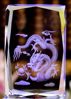 5 5 8cm Customized 3D Laser Dragon Crystal Glass Paperweight With Gift Box For Kids Birthday