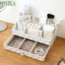 NEW MYSTICA ABS Two layer Plastic Storage Box Drawers Makeup Jewelry Container Box Make up Organizer Case Cosmetic Office Boxes two layers beauty portable make up cosmetic box travel carry case organizer bag jewelry storage container