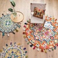 Handmade wool carpet thickening tassel round living room bedroom bedside rug