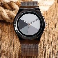 Cool Fashion Casual Modern Watch Men Sport WristWatch Student Korea Quartz watch Splice Color Dial Web Mesh Stainless Steel Band