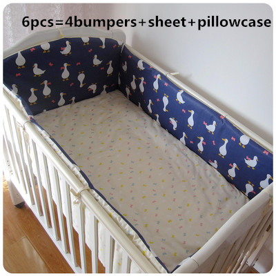 Promotion! 6PCS Baby Bumper Crib Bedding Newborn Baby Bedding Set Cute Cartoon ,(bumpers+sheet+pillow Cover)