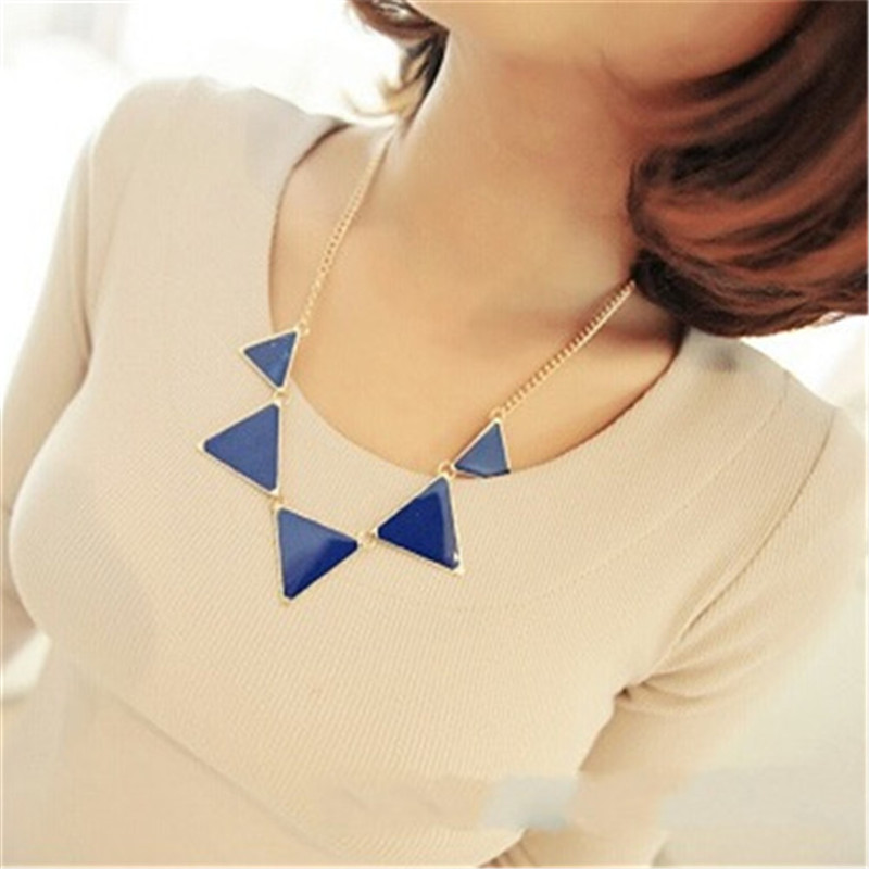 LNRRABC Gold Chain Women Triangle Punk Collar Sweater Chain Short Choker Necklaces Ladies Jewelry