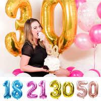 32/40 zoll Rose Gold Silber Anzahl Folie Luftballons Große Helium Globos Geburtstag Party Hochzeit Dekorationen Digit Abbildung ballon