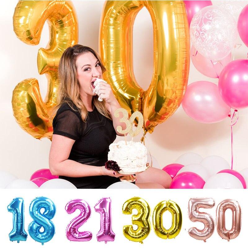 32/40 Polegada rosa ouro prata número da folha balões grande hélio globos festa de aniversário decorações de casamento dígitos figura balão
