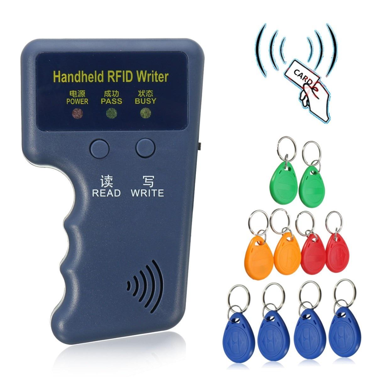 Handheld 125KHz EM4100 RFID Copier Writer Duplicator Programmer Reader + 10 Pcs EM4305 T5577 Rewritable ID Keyfobs Tags Card handheld 125khz rfid duplicator key copier reader writer id card cloner programmer 5 keys 5pcs rewritable cards em4305 t5577