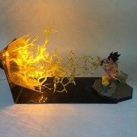 [Funny] Anime Dragon Ball Z Goku Spirit Bomb Action Figures model LED Lamp light ball Toy Kamehameha Explosion Scene craft toy