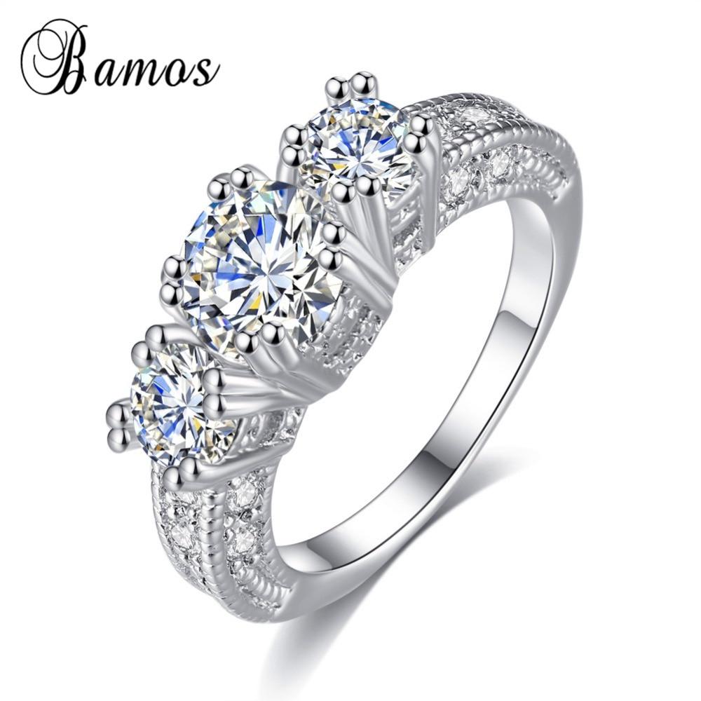 Bamos 2017 Luxury Female White Aaa Zircon Ring Fashion Big Round 925 Silver  Filled Promise Engagement