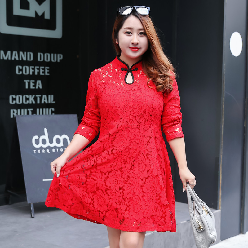 Free shipping spring and autumn plus size vintage dress clothing long-sleeve lace cheongsam one-piece dresses XL 2XL 4XL