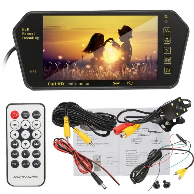 7 Pulgadas LCD Monitor Del Espejo de Visión Trasera Aparcamiento Media MP5 Player + Retrovisor HD Impermeable Cámara de Marcha Atrás