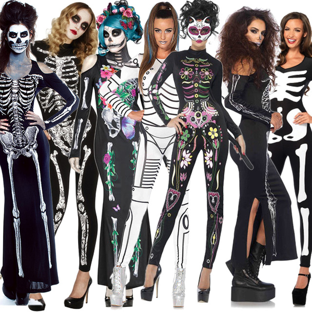 Funny Halloween Costumes Horror Cos bloody Skull Zombie Costume ...