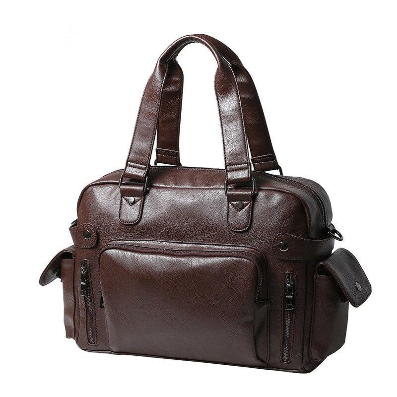 ФОТО Leather Briefcase Travel Bag Casual Business Soft Leather Mens Messenger Bag Luxury Handbags Designer Vintage Men's Shoulder Bag