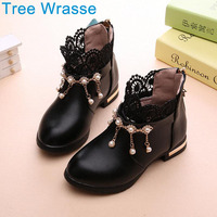 Girls Shoes Girls Boots Tree Wrasse 2017 New Children S Shoes Fashion Pearl Princess Single Shoes