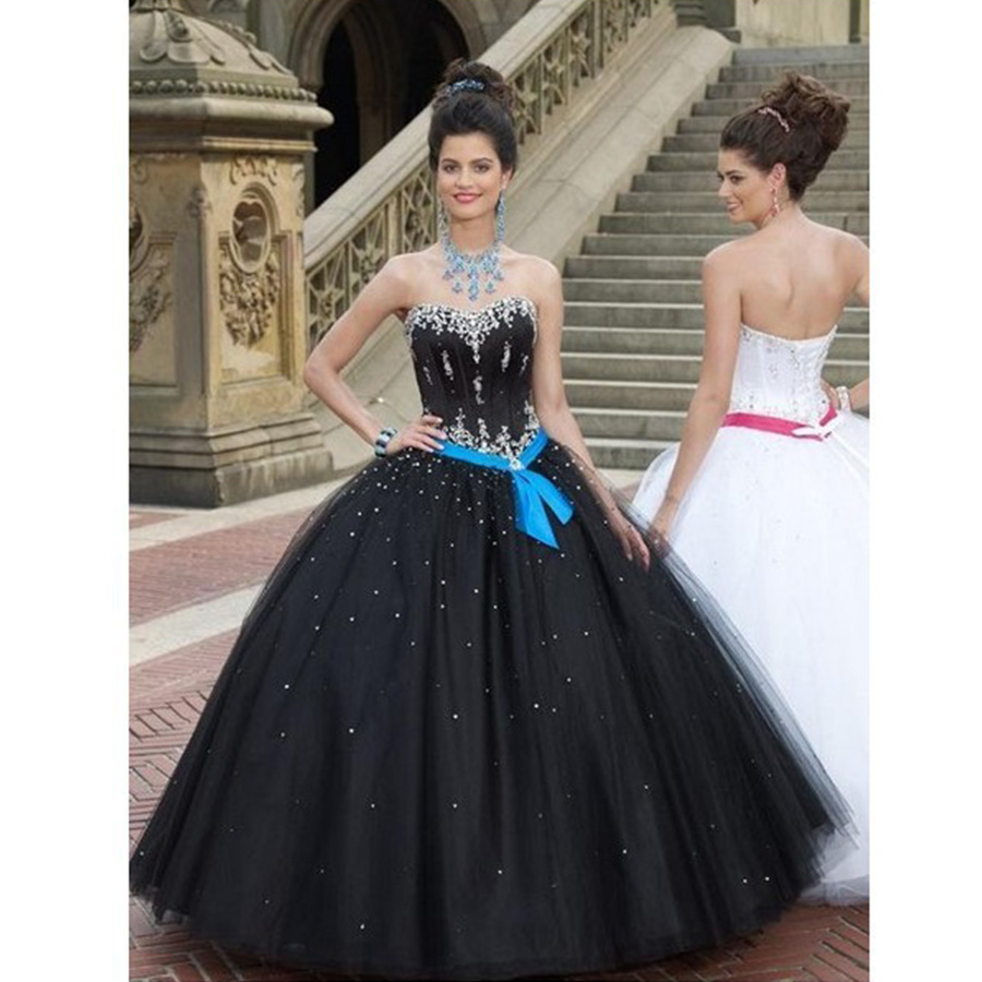 Country Western Gothic Cheap Masquerade Ball Gowns Tulle Sweet 16 Dresses White And Black Quinceanera Plus Size In From Weddings