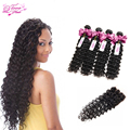 Malaysian Deep Wave Hair Bundles With Lace Closures 4 Bundles With Closure Deep Wave With Closure Human Hair Weave With Closure