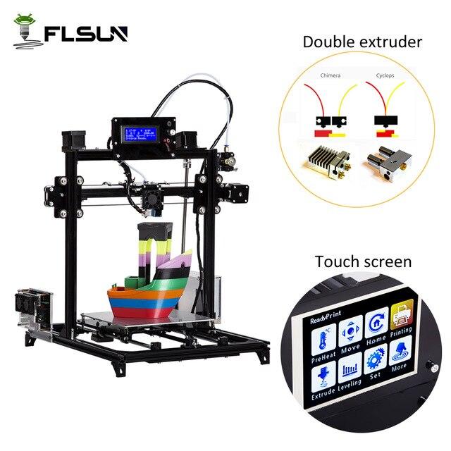 Широкоформатная печать Размеры 300x300x420 мм flsun i3 3D-принтеры Сенсорный экран двойной экструдер DIY 3D-принтеры комплект с подогревом 2 рулона нити