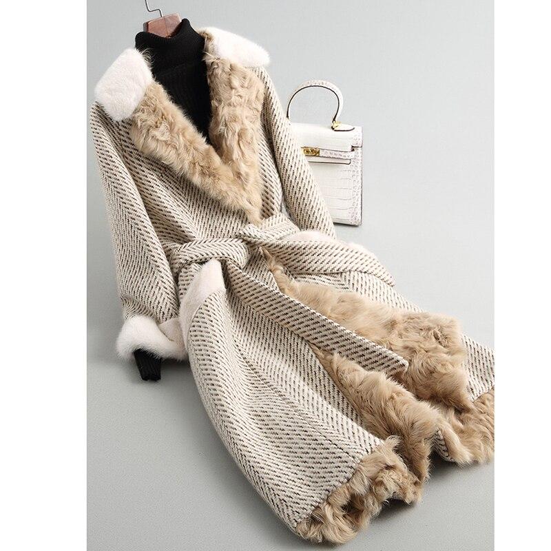 Высокое качество 2018 г. Роскошные осенние и зимние новые грубые цветок шерсти длинные пальто с мехом толстые сохранить теплая куртка Гаранти