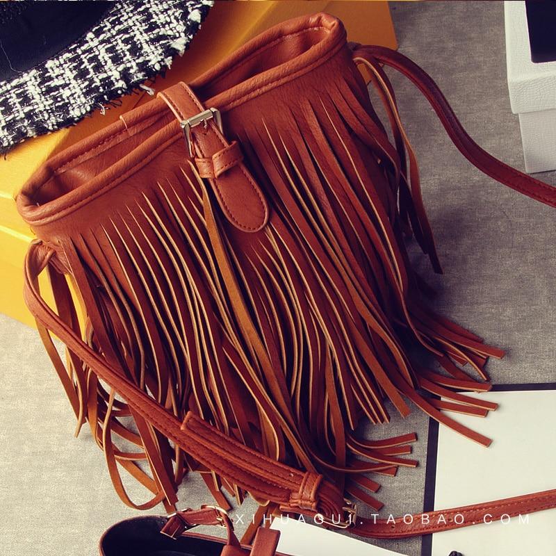 2017 New Women s Shoulder Tassel Bucket Bag Casual Messenger Bag Female Designer Leather Bolsas Feminina