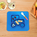 2 в 1 Безопасно Силиконовые Посуда Синий Разделить Placemat Плиты Миску Водонепроницаемый Посуда для Ребенка Малыша Дети