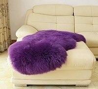 Romantic Purple 70 100cm Genuine Sheepskin Carpet Bay Window Rug Sheep Fur Rug For Home Living