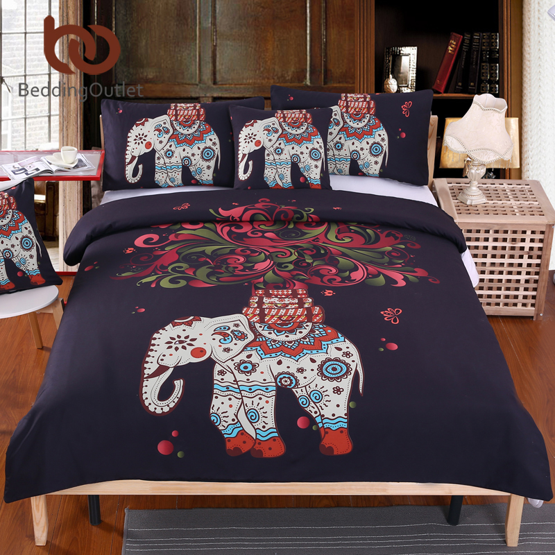 Beddingoutlet Boho Bedding Set Indian Elephant Black