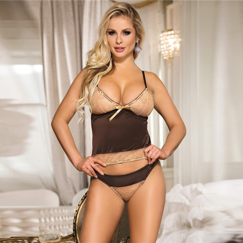 Brown Gored <font><b>Camisola</b></font> Babydoll <font><b>Sexy</b></font> <font><b>Lingerie</b></font> Hot Set Women Lace Backless <font><b>Plus</b></font> <font><b>Size</b></font> <font><b>Lingerie</b></font> <font><b>Sexy</b></font> Hot Erotic Panty <font><b>Sexy</b></font> Clothes image
