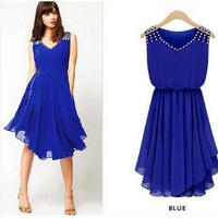 2016 Hot Selling Women Summer Dress Casual Solid Dresses O Neck Knee Length Sexy Charming New