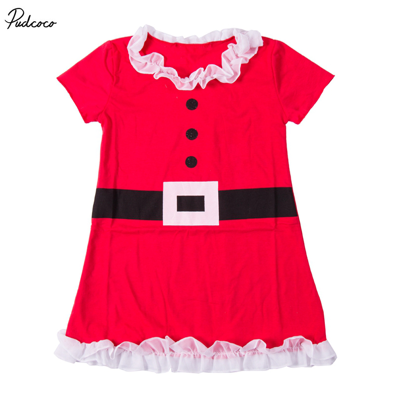 New Year Christmas Baby Santa Claus Dress Coat Santa Claus Xmas Baby Kids Girls Lace Belt Ruffles Dress Clothes Hot Sale new year santa claus socks pendants gift bags home christmas tree decorations ornaments baby shower natale