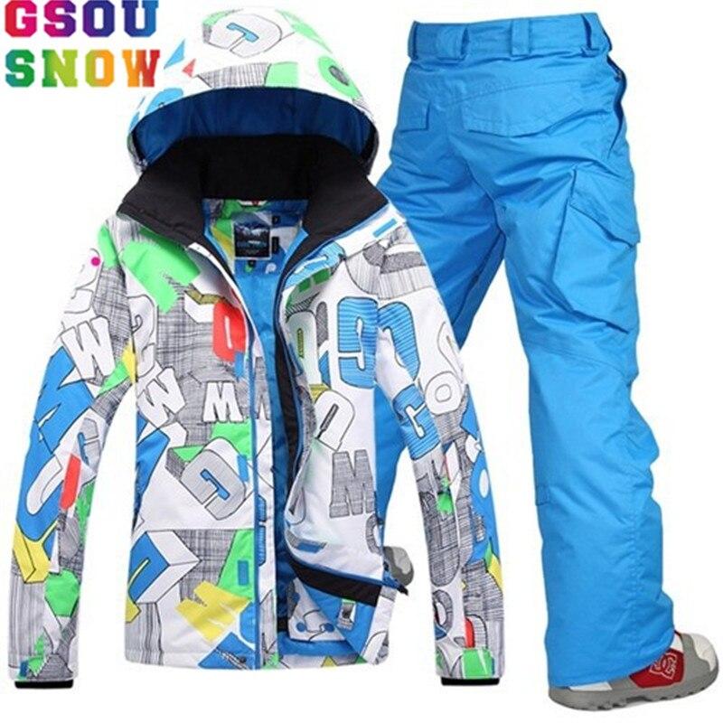 GSOU NEIGE Marque Ski Costume Hommes Veste de Ski Snowboard Pantalon D'hiver Ski Snowboard Manteau Mâle Coupe-Vent Sport En Plein Air Vêtements